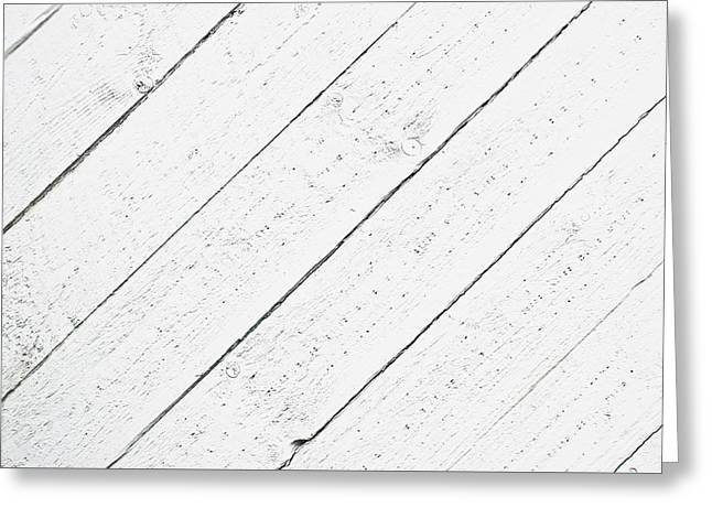 Dark Wood Table Greeting Cards - White wood  Greeting Card by Tom Gowanlock