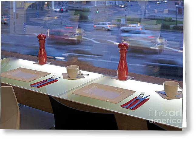 Window Seating In An Upscale Cafe Greeting Card by Jaak Nilson