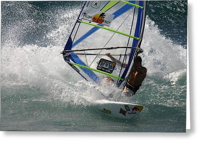 Windsurfer Greeting Cards - Windsurfer in big waves Hookipa Maui Hawaii Greeting Card by Pierre Leclerc Photography