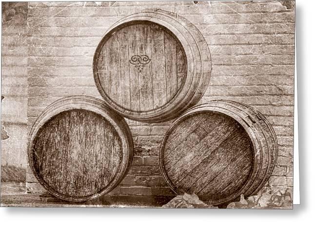 Wine Barrels At Mission Point Lighthouse Michigan Greeting Card by LeeAnn McLaneGoetz McLaneGoetzStudioLLCcom