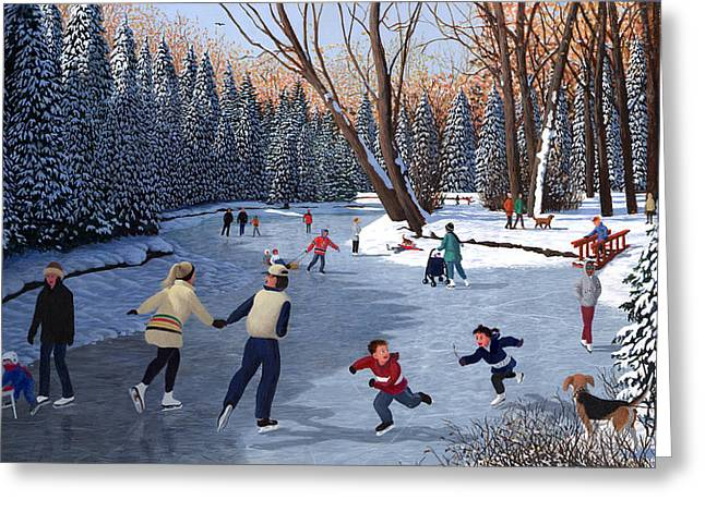 Snowscape Paintings Greeting Cards - Winter Fun at Bowness Park Greeting Card by Neil Woodward