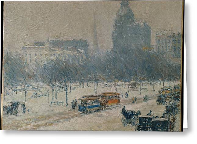 Union Square Greeting Cards - Winter in Union Square Greeting Card by Celestial Images