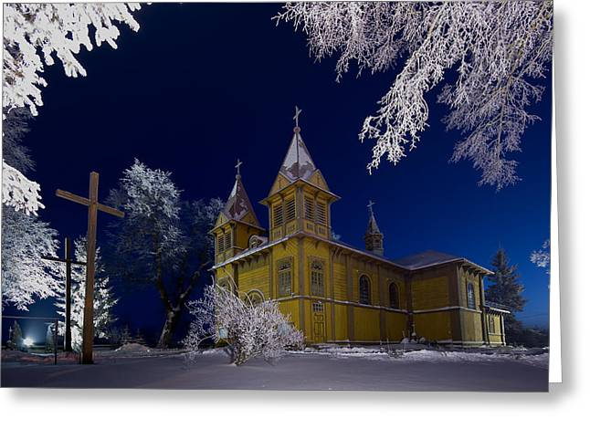 Winter Night Greeting Cards - Winter Scenery Greeting Card by Arkadiusz  Wlodarczyk