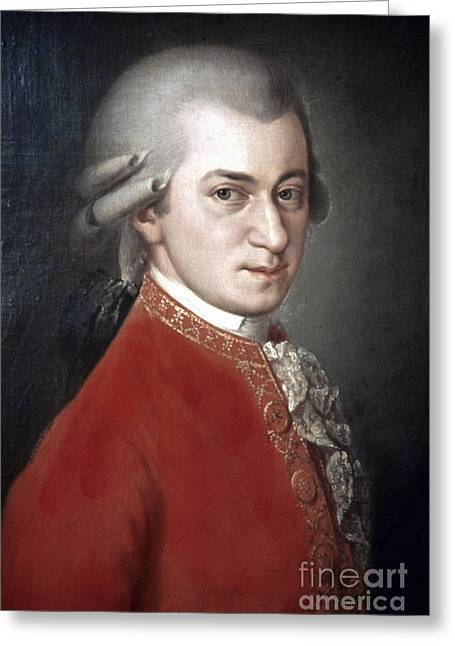 Mozart Greeting Cards - Wolfgang Amadeus Mozart Greeting Card by Granger