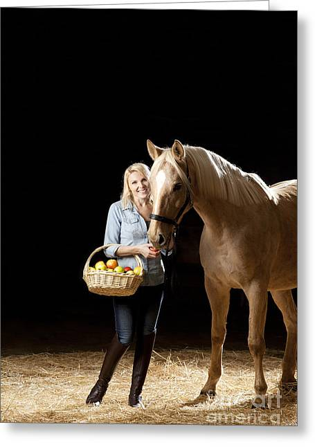 Human Greeting Cards - Woman and horse with apples Greeting Card by Wolfgang Steiner