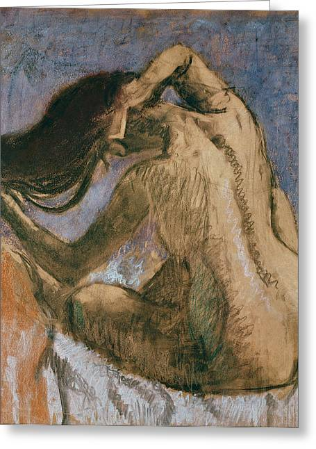 Feminine Pastels Greeting Cards - Woman Combing her Hair Greeting Card by Edgar Degas
