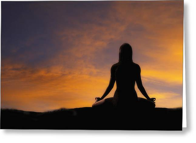 Postures Greeting Cards - Woman Practicing Yoga Greeting Card by Utah Images