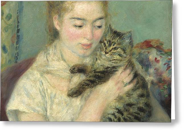 Famous Artist Greeting Cards - Woman With A Cat Greeting Card by Auguste Renoir