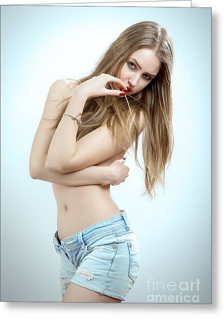 Woman Head Greeting Cards - Woman With Long Hair Greeting Card by Aleksey Tugolukov