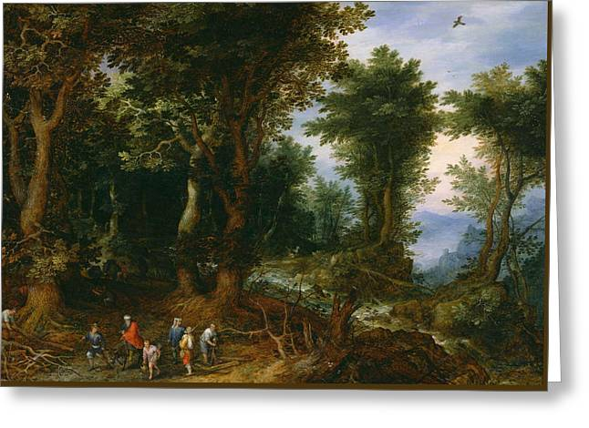 Bible Scene Greeting Cards - Wooded Landscape with Abraham and Isaac Greeting Card by Jan Brueghel the Elder