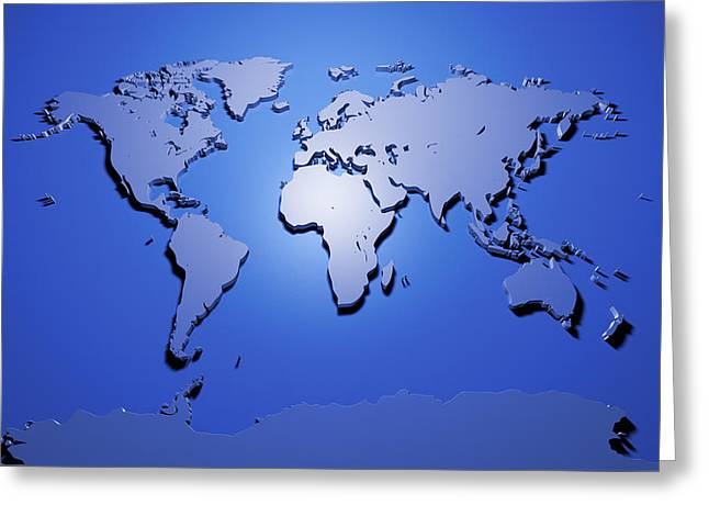 World Map in Blue Greeting Card by Michael Tompsett