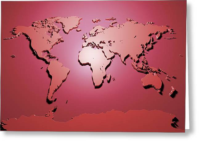 Panoramic Digital Art Greeting Cards - World Map in Red Greeting Card by Michael Tompsett