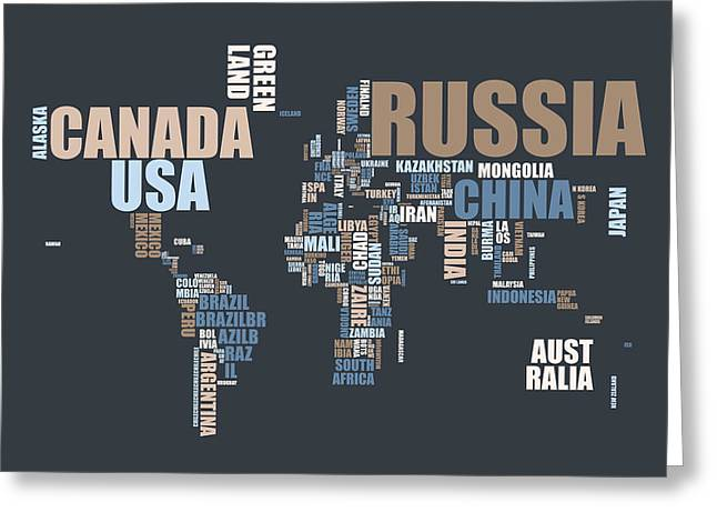 Cartography Greeting Cards - World Map in Words Greeting Card by Michael Tompsett