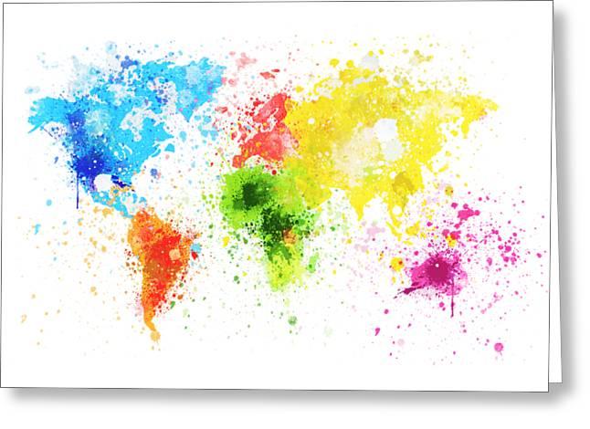 Fun Map Greeting Cards - World Map Painting Greeting Card by Setsiri Silapasuwanchai