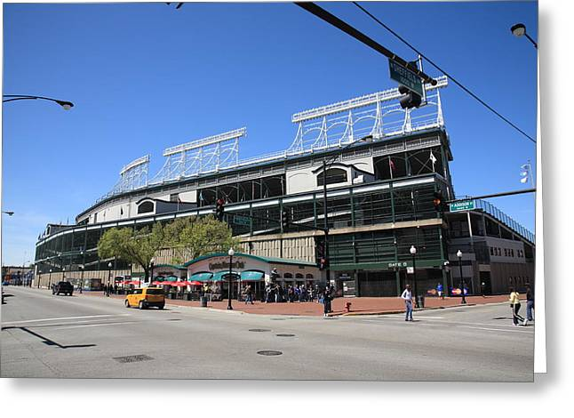 Cubs Baseball Park Greeting Cards - Wrigley Field - Chicago Cubs Greeting Card by Frank Romeo