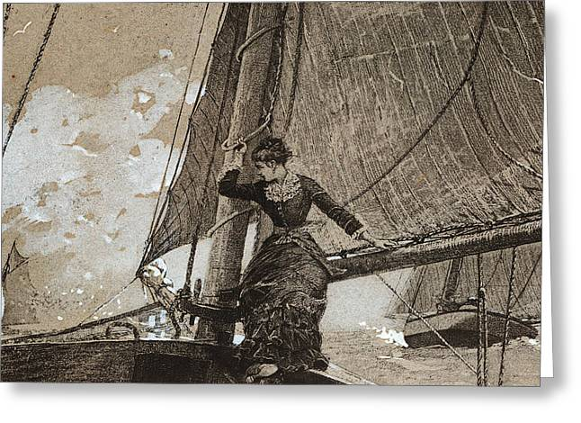 Voyage Drawings Greeting Cards - Yachting Girl Greeting Card by Winslow Homer
