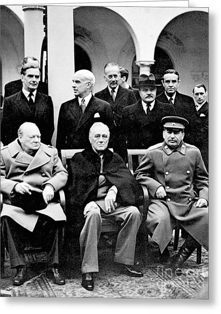 Diplomacy Greeting Cards - Yalta Conference, 1945 Greeting Card by Granger