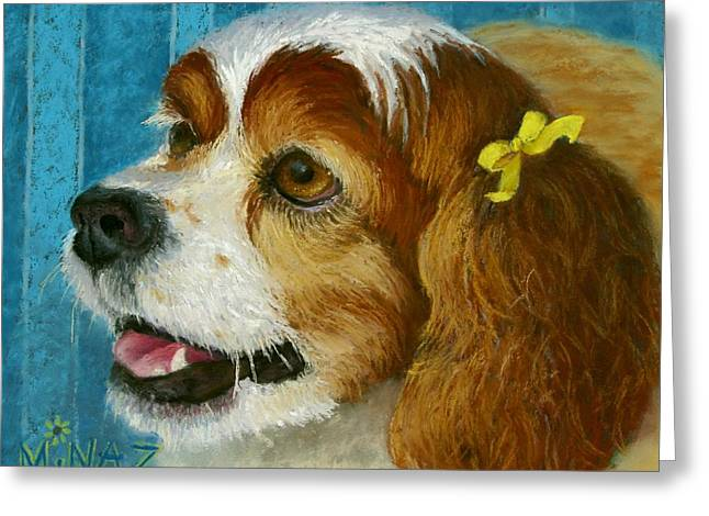 Spaniel Greeting Cards - Yellow Ribbons Greeting Card by Minaz Jantz