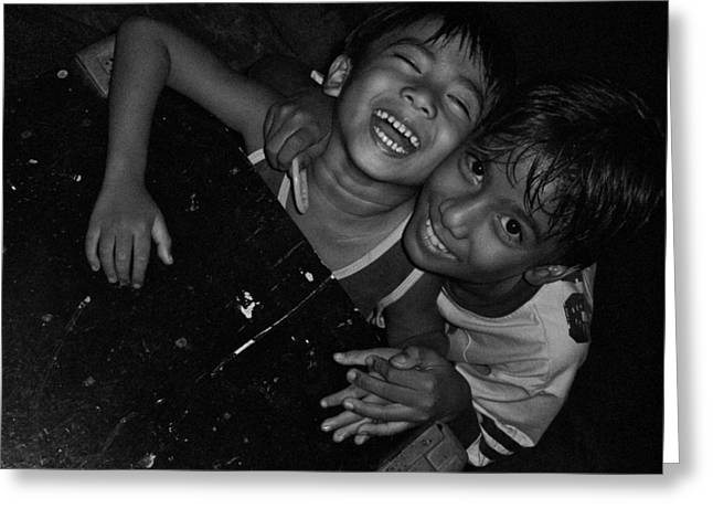 Surprise Greeting Cards - 2 young boys, Philippines - 2009 Greeting Card by Joseph Thiery