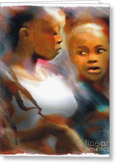Haitian Digital Greeting Cards - 2 Young Haitian Ladies Greeting Card by Bob Salo