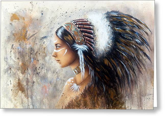 Native American Spirit Portrait Paintings Greeting Cards - Young Indian Woman Wearing A Big Feather Headdress A Profile Portrait On Structured Abstract Backgr Greeting Card by Jozef Klopacka