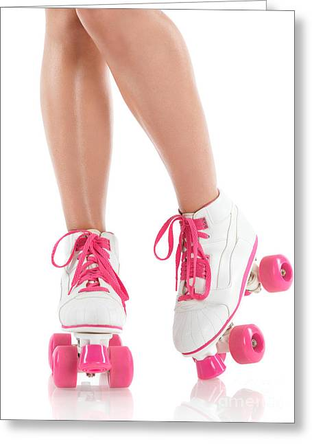Roller Skates Greeting Cards - Young Woman Wearing Roller Derby Skates Greeting Card by Oleksiy Maksymenko