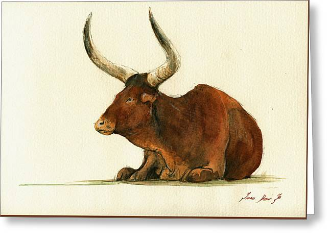 Bull Greeting Cards - Zebu cattle art painting Greeting Card by Juan  Bosco