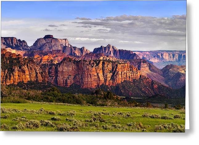 Geological Formations Greeting Cards - Zion National Park Utah Greeting Card by Utah Images