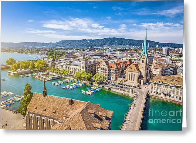 Old Street Greeting Cards - Zurich Greeting Card by JR Photography