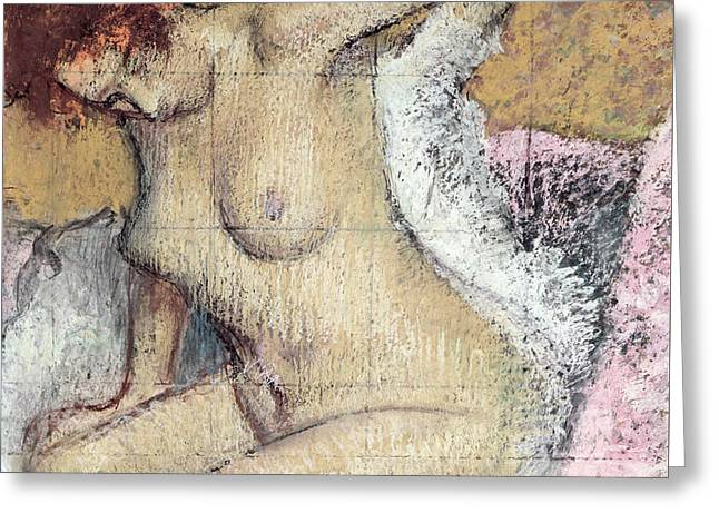 Fantasy Pastels Greeting Cards - After the Bath Greeting Card by Edgar Degas