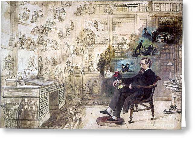 Interiors Greeting Cards - Charles Dickens (1812-1870) Greeting Card by Granger