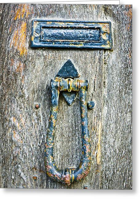 Knock Knock Greeting Cards - Old door Greeting Card by Tom Gowanlock