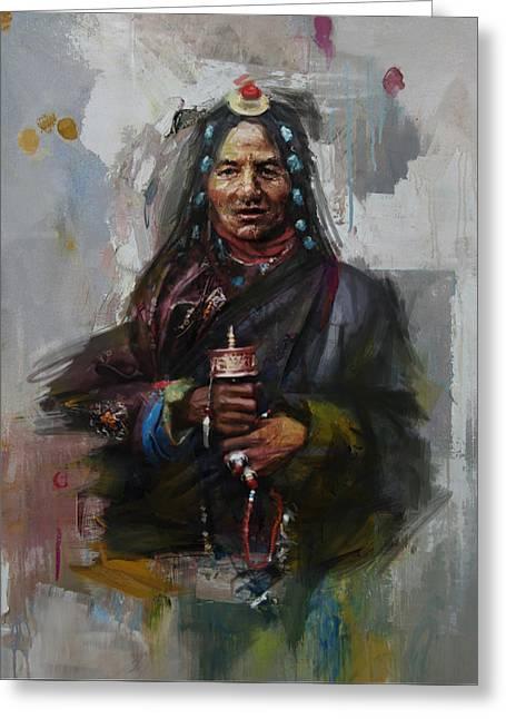 East Asian Culture Greeting Cards - 20 pakistan folk Gilgit B Greeting Card by Maryam Mughal