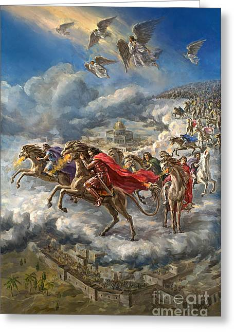 The Leaver Greeting Cards - 200 Million Mounted Troops Original Oil Painting Signed Greeting Card by Vigovsky