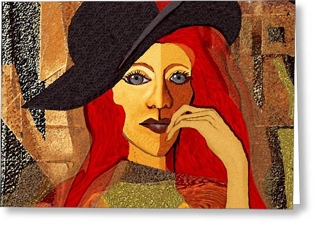 200 - Woman With Black Hat .... Greeting Card by Irmgard Schoendorf Welch