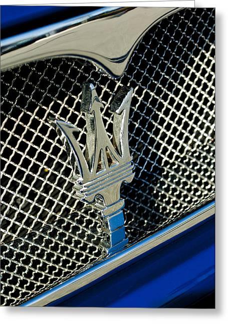 Car Mascot Greeting Cards - 2002 Maserati Combiocorsa Spyder Hood Ornament Greeting Card by Jill Reger