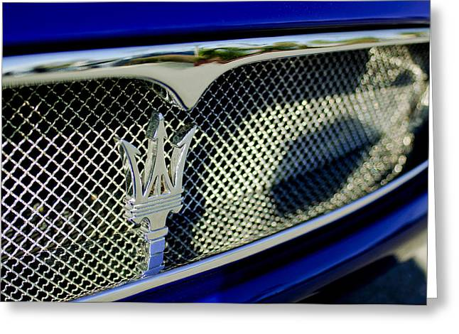 Hoodies Greeting Cards - 2002 Maserati Hood Ornament Greeting Card by Jill Reger