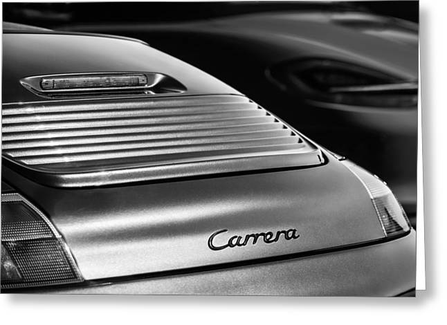 Recently Sold -  - Famous Photographer Greeting Cards - 2003 Porsche 911 Carrera Taillight Emblem -2089bw Greeting Card by Jill Reger