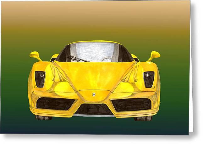 Car Part Paintings Greeting Cards - 2004 Ferrari Enzo 400 of 400 Greeting Card by Jack Pumphrey