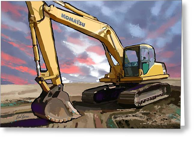 Slip Ins Greeting Cards - 2004 Komatsu PC200LC-7 Track Excavator Greeting Card by Brad Burns