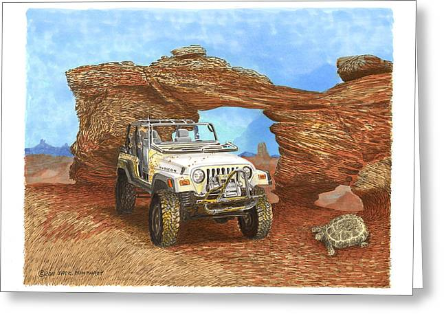 Treasures Drawings Greeting Cards - 2005 Jeep Rubicon 4 wheeler Greeting Card by Jack Pumphrey