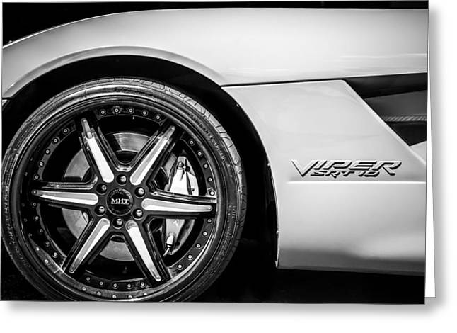 Famous Photographer Greeting Cards - 2006 Dodge Viper SRT 10 Wheel Emblem -0053bw Greeting Card by Jill Reger