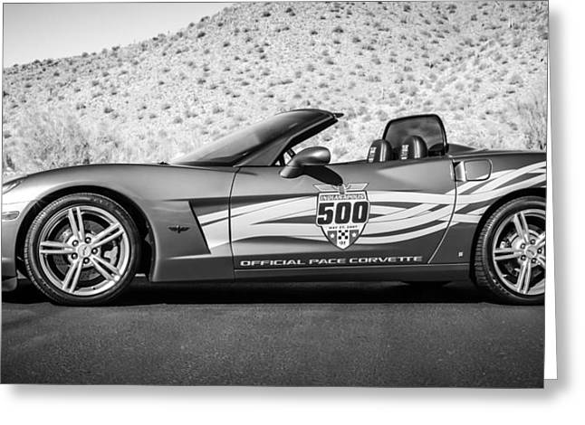 2007 Chevrolet Corvette Indy Pace Car -0003bw2 Greeting Card by Jill Reger