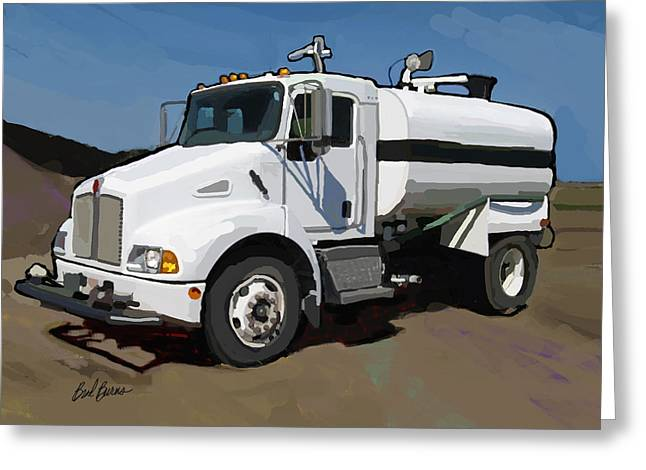 Trenches Paintings Greeting Cards - 2007 Kenworth T300 Water Truck Greeting Card by Brad Burns
