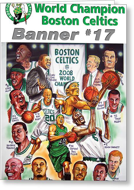 Boston Celtics Drawings Greeting Cards - 2008 Boston Celtics Team Poster Greeting Card by Dave Olsen
