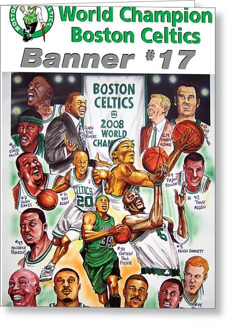 Boston Celtics Greeting Cards - 2008 Boston Celtics Team Poster Greeting Card by Dave Olsen