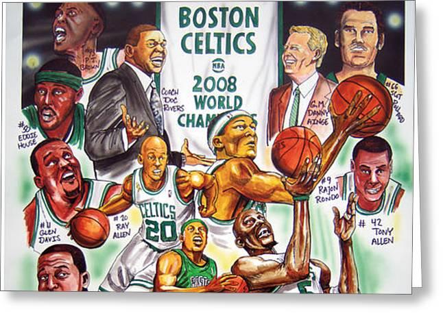 2008 Boston Celtics Team Poster Greeting Card by Dave Olsen