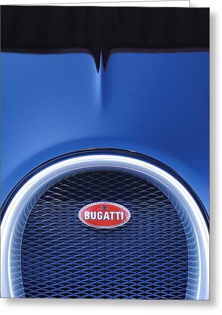Car Emblems Greeting Cards - 2008 Bugatti Veyron Hood Ornament Greeting Card by Jill Reger