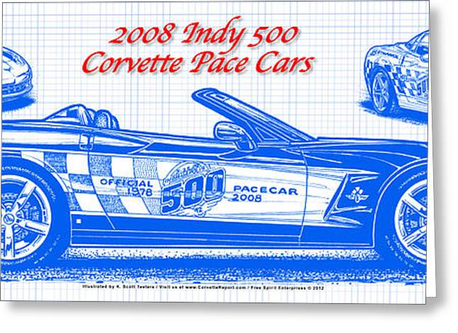 Indy Car Drawings Greeting Cards - 2008 Indy 500 Corvette Pace Car Blueprint Series Greeting Card by K Scott Teeters