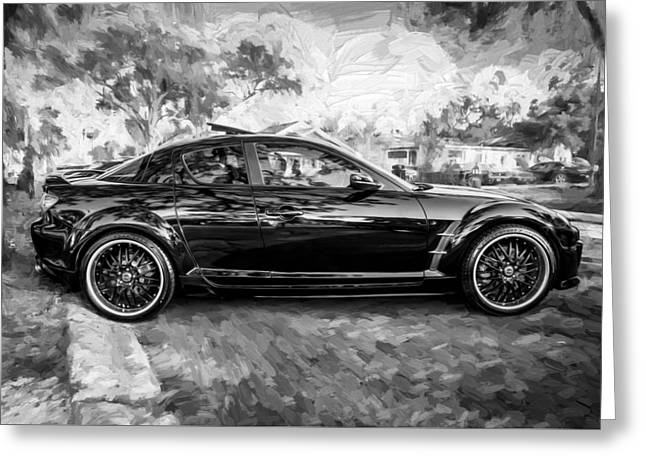 Mazda Greeting Cards - 2008 Mazda RX8 Painted BW Greeting Card by Rich Franco